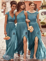 2018 New Mixed Neck Teal Bridesmaid Dresses For Weddings Lace Chiffon Split Side Long Plus Size Maid of honor robe demoiselle