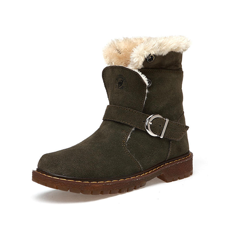 CSXD Winter Kids High Boots Boys Martin Boot Girls Genuine Leather Snow Shoes Outdoor Warm Sneakers