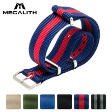 Купить с кэшбэком MEGALITH Watch Straps Nylon Fabric Watchbands Stainless Steel Buckles Claps Watch Straps With 3 Ring Buckle 22cm Men Watchbands