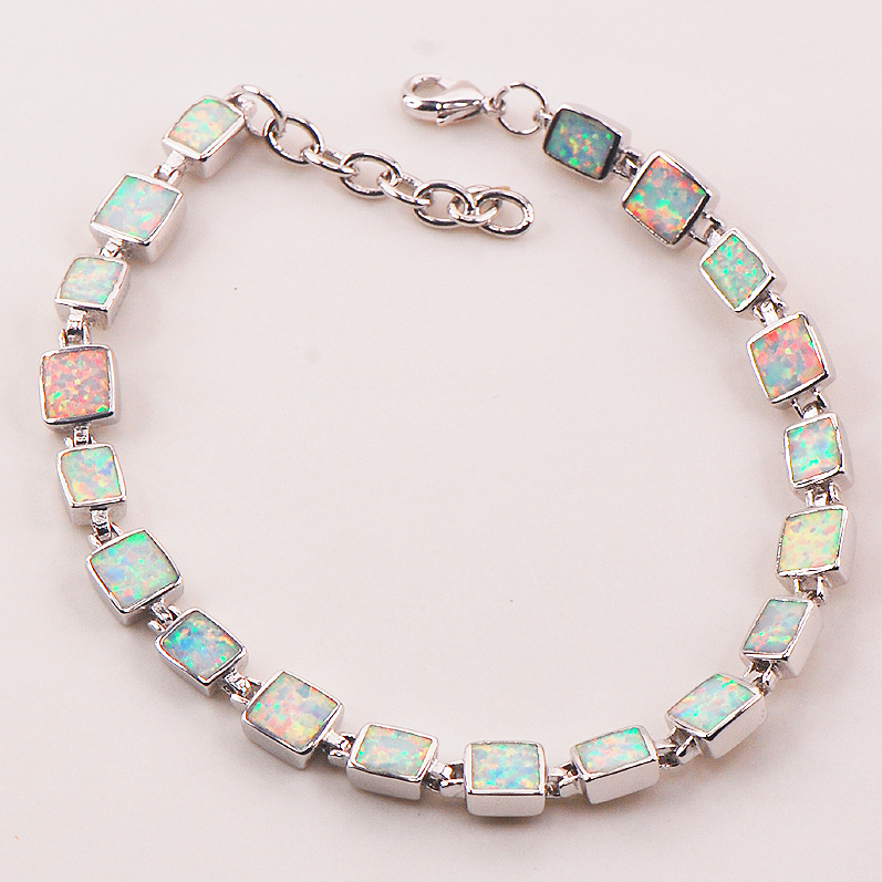 Free Shipping White Fire Opal 925 Sterling Silver Hotsale Wholesale&Retail Beautiful Jewelry Bracelet 7.5+0.5 P89