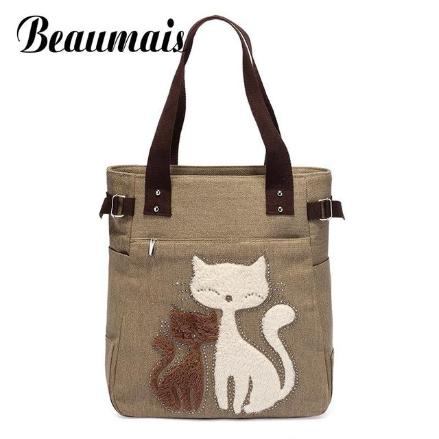 Beaumais Fashion Women Canvas Handbags Casual Tote Bag Cartoon Cat  Appliques Designer Handbags Brand Women Messenger 257b37ee02739