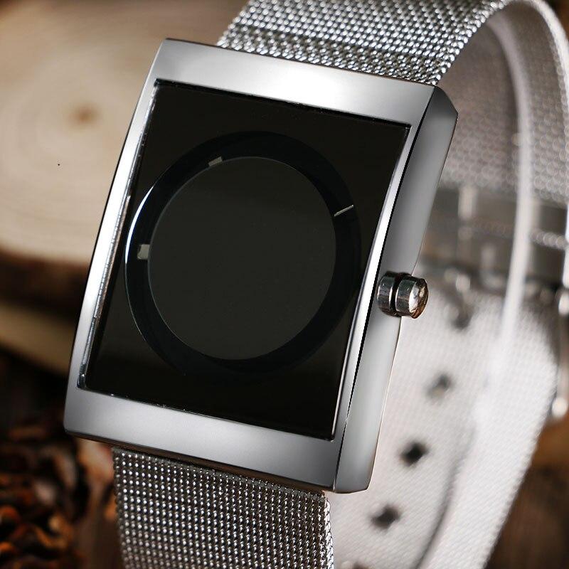 Cool Men's Watch Creative Circle Turntable Wrist Watch Men Stainless Steel Mesh Iron Band Quartz-watch Sports Casual Clock Gift