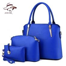 2017 Women Handbags Leather Handbag Women Messenger Bags Ladies Brand Designs Bag Famous Bags Handbag+Purse+Messenger Bag 3 Sets