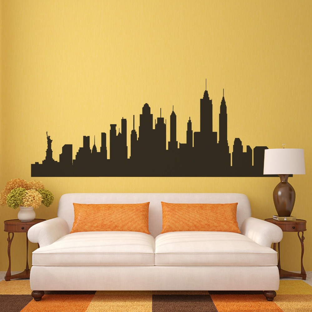 New York City Skyline Silhouette Wall Sticker NYC Vinyl Family Mural ...
