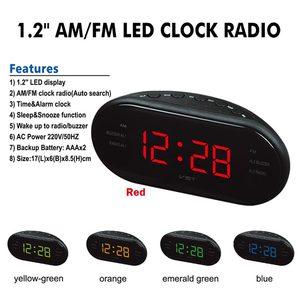 Image 2 - AM/FM LED שעון רדיו עם אזעקות כפולה שינה נודניק פונקציה לשקע מופעל גדול ספרות תצוגה עבור שינה מתוזמן כיבוי