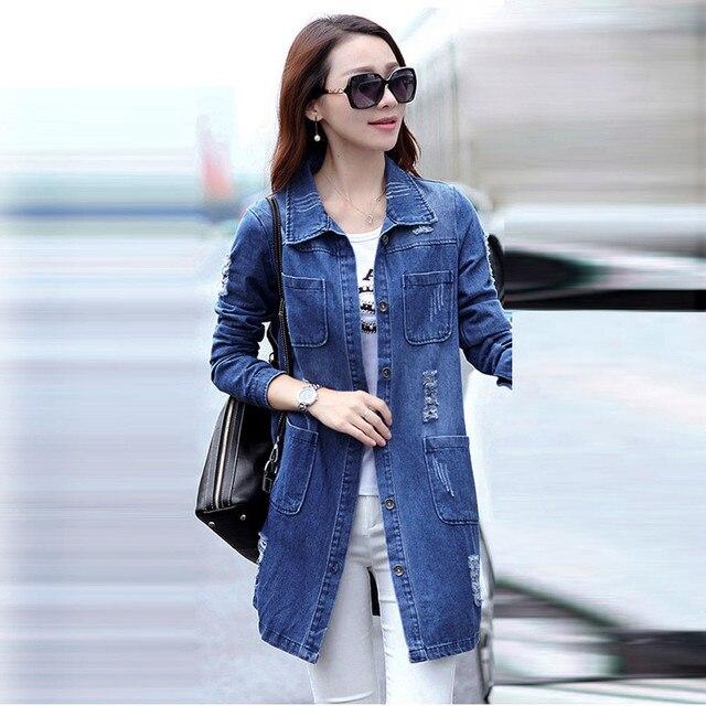 5cfd9d8a0 Abrigo de Jean básico de mujer Otoño Invierno moda coreana Delgado Jean  chaqueta abrigo de manga