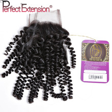 Unprocessed 6A 4×4 Brazilian Kinky Curly Closure , Free/Middle Part Brazilian Curly Human Hair Lace Closure 1B# Free Shipping