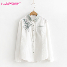 LUNDUNSHIJIA New 2018 Spring Women Blouse Flowers Embroidery Long Sleeve White Shirts Tops Blusas Feminina Size S-XL(China)