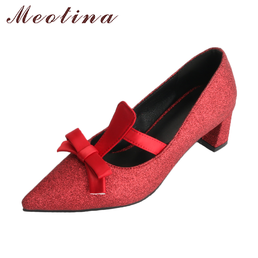 Meotina Women Lolita Shoes High Heels Pumps Pointed Toe Slip On Thick High Heels Shoes Spring 2018 Big Size 42 43 Ladies Shoes rizabina vintage spring women wedge pumps elegant slip on high heels shoes pointed toe ladies zapatos mujer shoes size 33 43