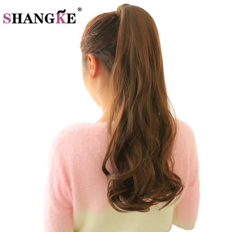 SHANG KE 24'' Long Wavy Ponytail Natural Clip In Pony Tail Hair Extensions Wrap On Fake Hair Piece Fake Hair Tail Ponytails