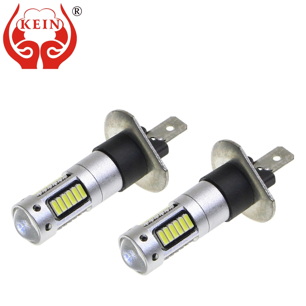 KEIN 2PCS H1 LED Car Bulbs Auto LED Fog Lamp 4014 30SMD DRL Daytime Running External Lights Day Driving Vehicle White 6000K 12V