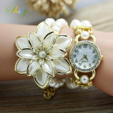shsby fashion Women Rhinestone Watches Ladies pearl strap Many petals flower bracelet quartz wristwatches women dress watches