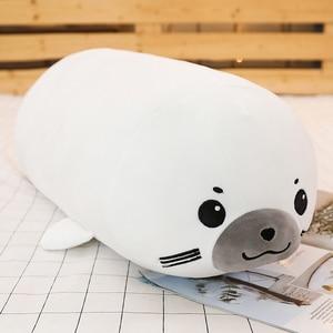 Image 5 - Juguete de peluche de unicornio para bebés, 1 unidad de 50/60/80CM, 10 estilos, mapache, juguete de foca de peluche, cojín almohada para dormir, muñecos de dibujos animados