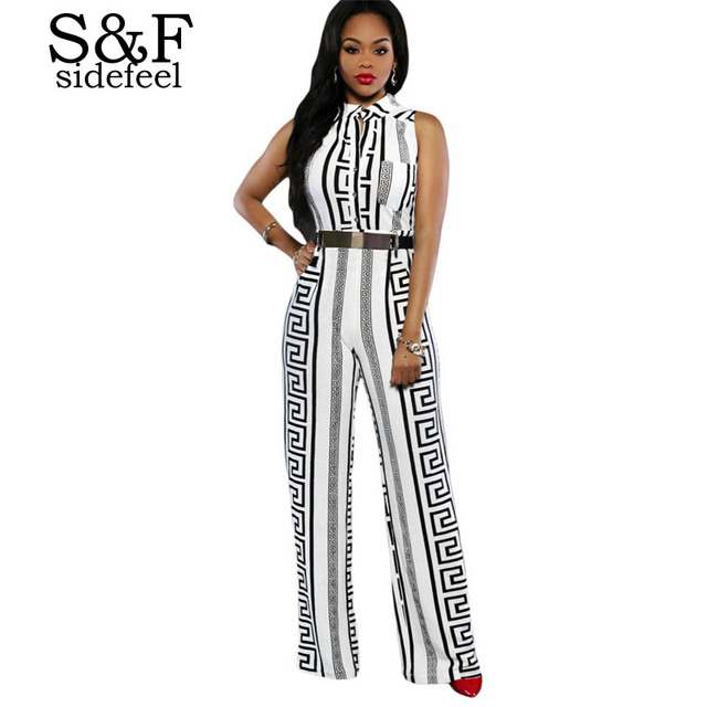 7078c40843 macacao feminino 2016 summer White black Print Gold Belted Jumpsuit LC64021  summer bodysuits rompers overall for women on sale