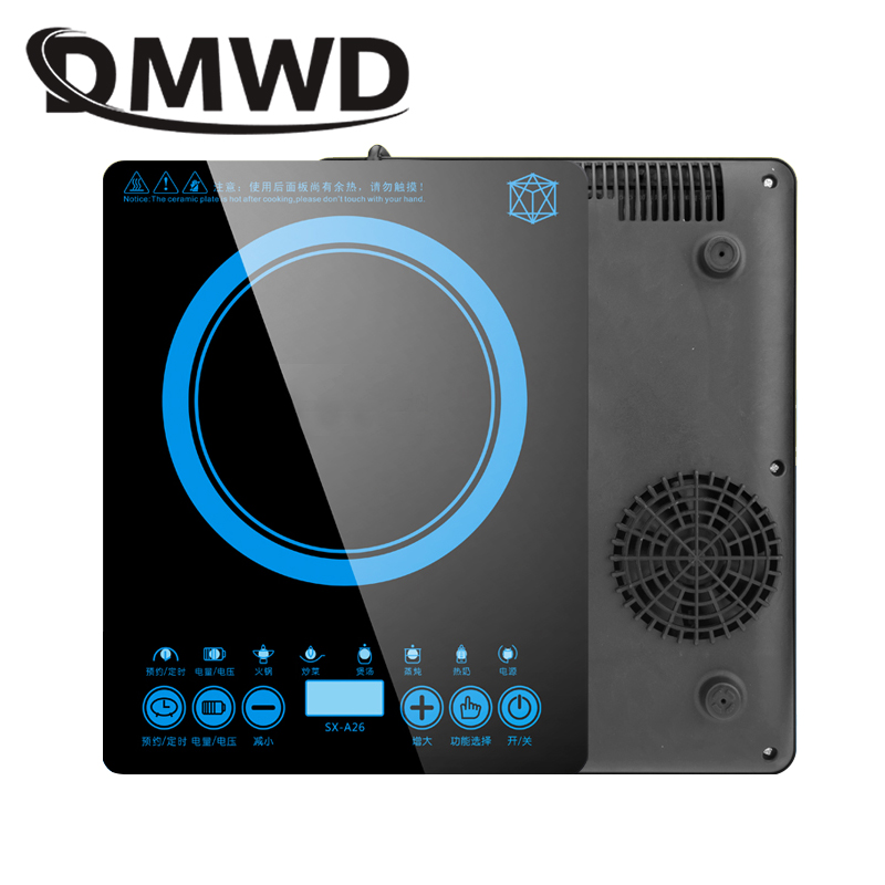 DMWD electric magnetic Induction cooker 220V 2200W cooking hot pot waterproof panel small hot pot stove hotpot oven cooktop EU portable household electric coffee furnace oven mini 500w stainless steel small coffee stove stew pot cooker machine us eu plug