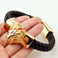 22cm *15mm Gold Plated Lion head Bracelet Men's Genuine Black Leather Bracelets Gold 316L Stainless Steel Bangle Jewelry
