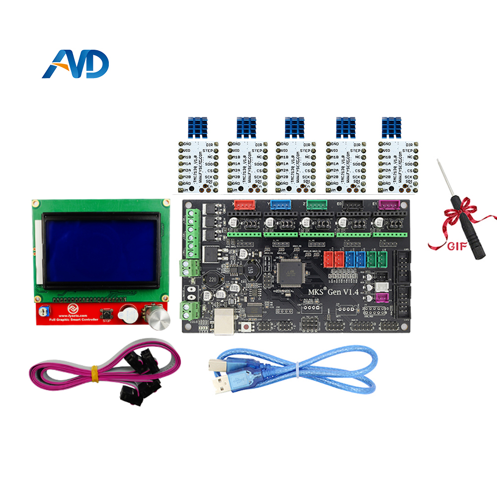 MKS Gen V1.4 control board +12864LCD+ TMC2130 And Heatsink stepper motor compatible with Ramps1.4/Mega2560 R3 3D printer parts mks gen v1 4 control board mainboard compatible with ramps1 4 mega2560 r3 5pcs tmc2130 v1 0 stepper motor for 3d printer parts