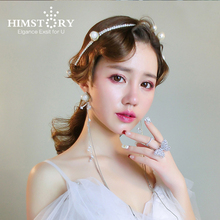 HIMSTORY Fashion Elegance Pearl Long Chain Hairband Earring Woman Wedding Hair Jewelry Accessorie for Party Festival New