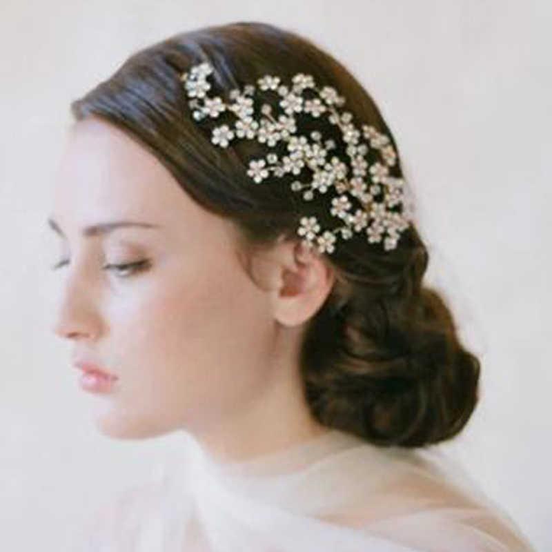 Luxury European Designs Handmade Wedding Party Hair Vine Head Pieces Crystal  Bridal Hair Comb Clip For 0533f18553a2