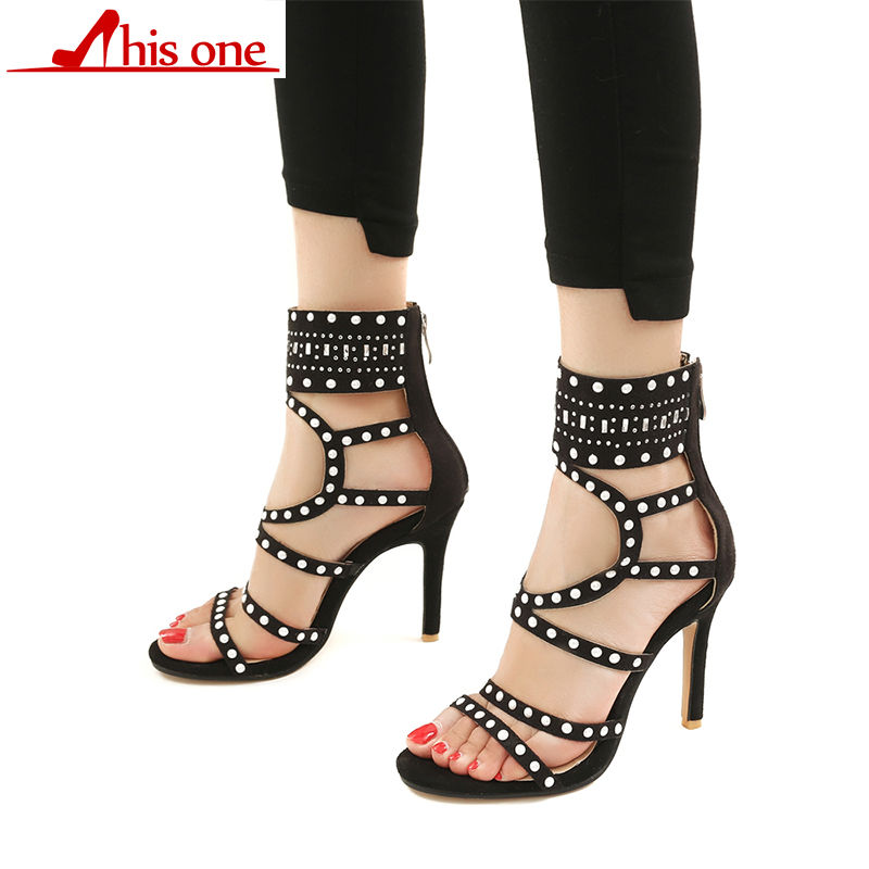 2018 Women Sandals Peep Toe Women High Heels Shoes Fashion Gladiator Casual Rhinestones Crystal Thin Heel High Heels Plus Size new women pumps gladiator thin heel pvc transparent high heels shoes women fashion casual peep toe shoes women crystal zip pumps