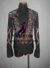 100% New Shining Stones Competition Dance Man Latin Shirt,Boys Latin Dance Men Dress,Latin  Dance Adult Dress,KAKA-M041