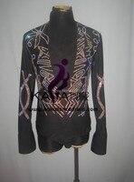 100% New Shining Stones Competition Dance Man Latin Shirt,Boys Latin Dance Men Dress,Latin Dance Adult Dress,KAKA M041