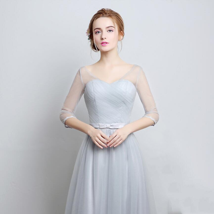 CEEWHY Light Gray 4 Style Half Sleeve A Line Tulle 2017 Party Elegant  Evening Dresses Long Wedding Party Dress Formal Gowns-in Evening Dresses  from Weddings ... b0356e73e259