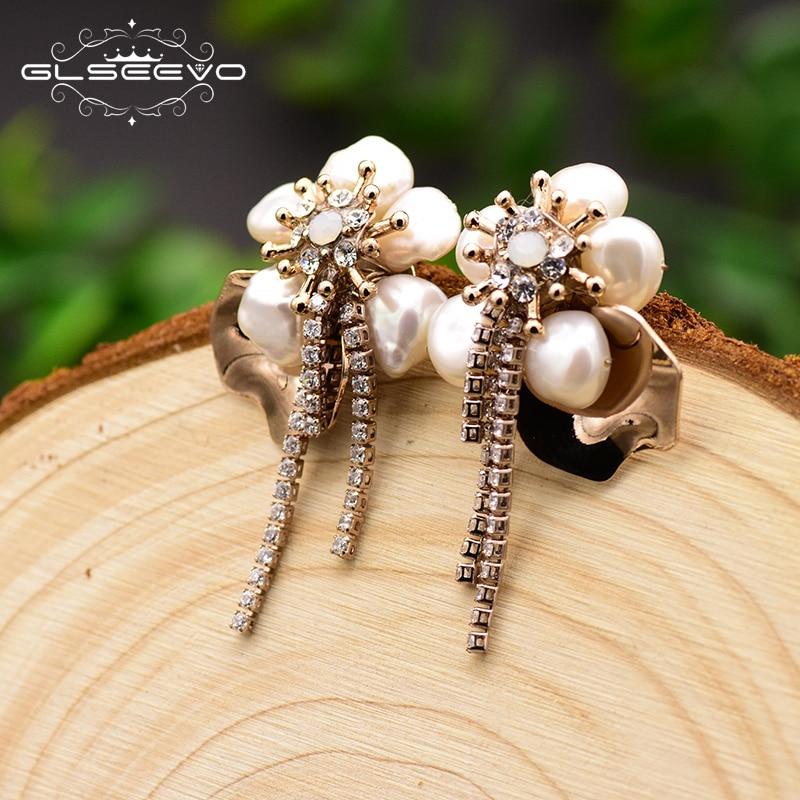 GLSEEVO Natural Fresh Water Pearl Flower Stud Earrings For Women Piercing Earrings Jewelry Boucle D'oreille Femme 2019 GE0693