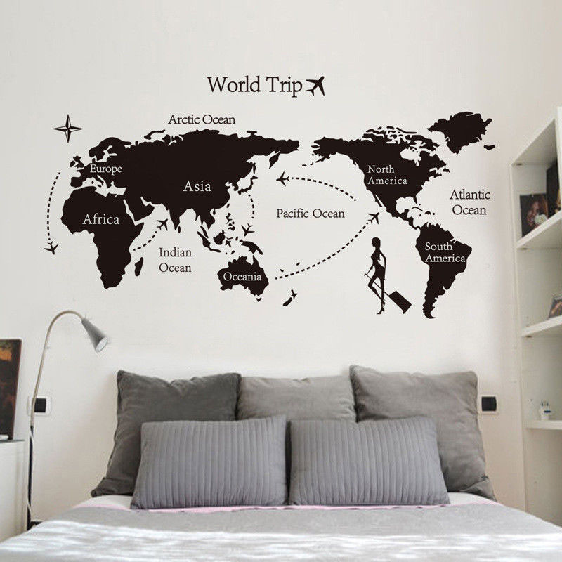 Black Map of the World Wall Sticker Decal PVC Home Art Sticker Decor Large CC