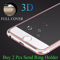 9H 3D Titanium Alloy Metal Frame Curved Full Cover Tempered Glass Anti Shock Screen Protector Guard Film for IPhone 7 6s 6 Plus