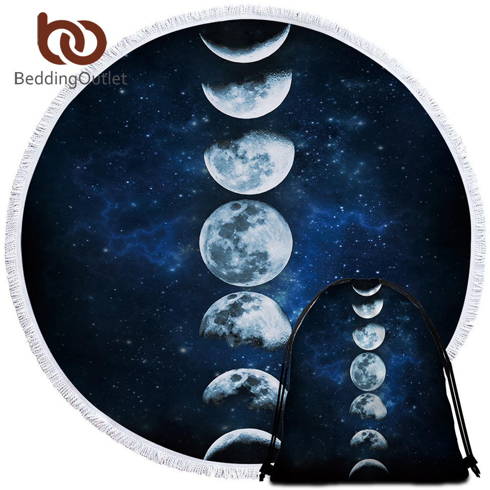 BeddingOutlet 3d Printed Microfiber Bath Towel Large Round Beach Towel for Adults Kid Summer Toalla Moon Eclipse Tassel Tapestry 1