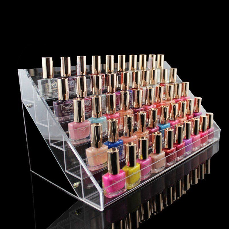 5 Layers Acrylic Nail Polish Display Stand Shelf Rack Makeup ...