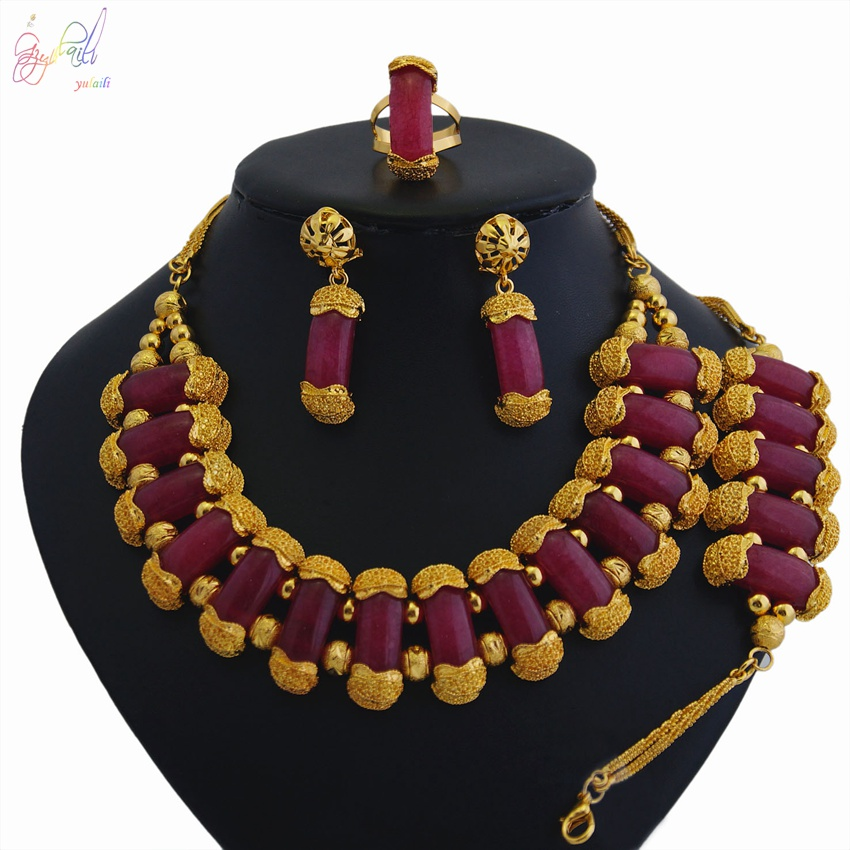 YULAILI 2018 New Coming Natural Stone Jewelry Sets Pure Gold Color Necklace Bracelet Earrings Ring Set for Women Wedding PartyYULAILI 2018 New Coming Natural Stone Jewelry Sets Pure Gold Color Necklace Bracelet Earrings Ring Set for Women Wedding Party