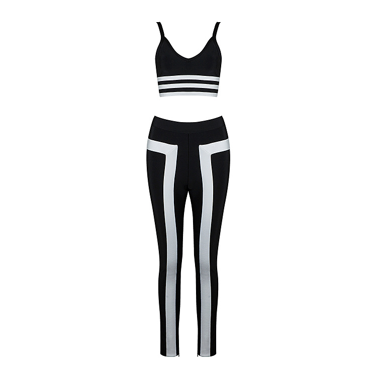 wholesale 2018 new Jumpsuits Black and white stitching Stretch tight Two Piece Set bandage Rompers (H1241)
