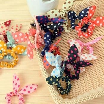 10 Pcs/Pack Hair Scrunchies Cute Bunny Flower women Elastic Hair Band Rabbit Ears Polka Dot Hair Rope girl Hair Accessories цена 2017