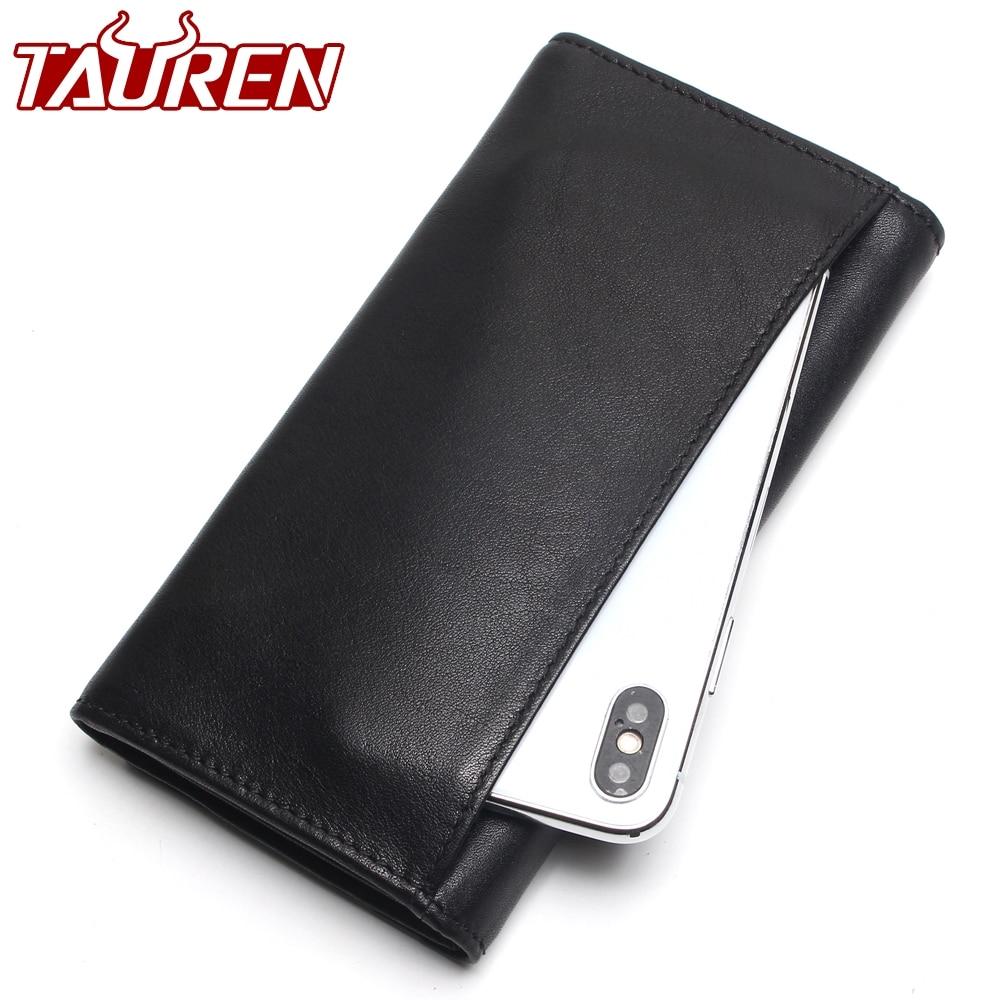 TAUREN New Fashion Men Wallet Genuine Leather Purse Men Long Wallet Purse Vintage Money Clip High-Capacity Wallet цена
