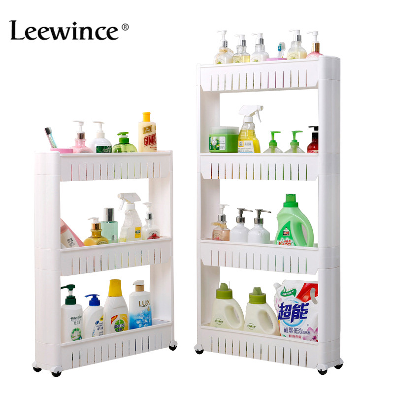 Leewince Multipurpose Bathroom Storage Storage Rack Shelf Multi-layer Refrigerator Side Shelf Shelf with Removable Wheels Crack
