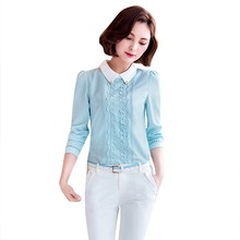 Autumn Summer Fashion Women White Collar Linen Blouse Female Long Sleeve Casual Office Lace Blouse Shirts Tops