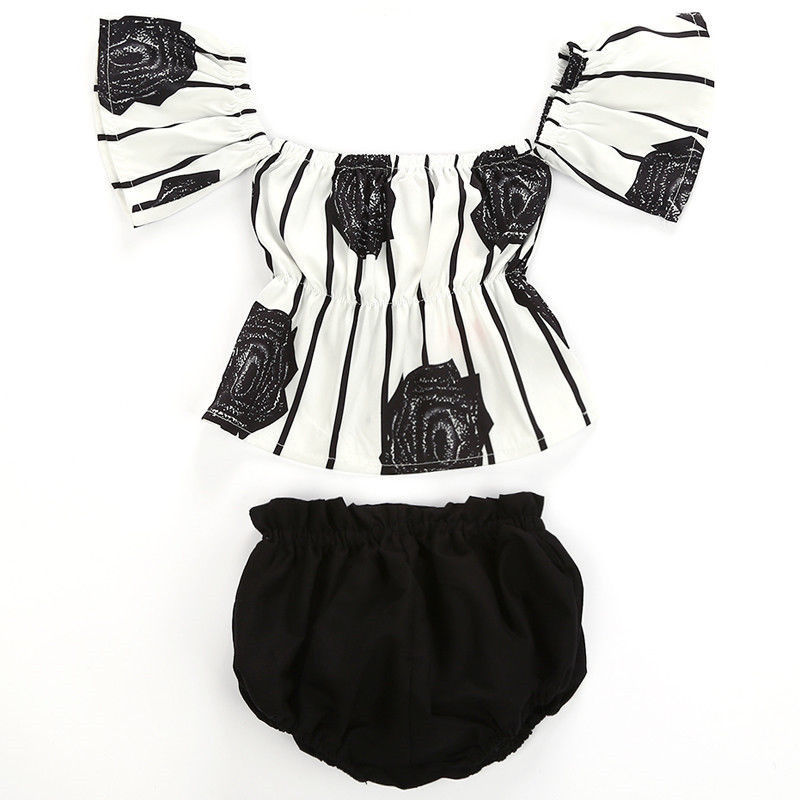 Fashion Toddler Baby Girl Clothes Striped Tops Blouse Cotton Rose Flower Pants Shorts Summer Outfit Set Lovely Clothing 0-24M