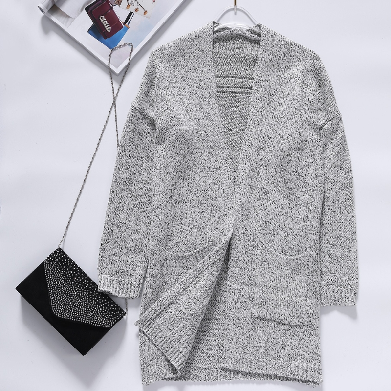 Women Cardigan Autumn Long Sleeve Open Front Loose Knit Cardigan With Pocket Knit Sweater Coat Plus Size