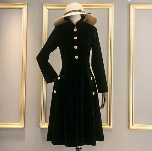 Gold Velvet Women's Windbreaker Office Lady Trench Coat For Women A line Casaco Feminino Trench Female Feminino Coats Raincoat