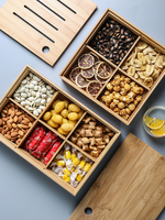 Japanese style living room bamboo wood 4 grid 6 grid candy plate snacks dried fruit storage box restaurant storage tray tea tray