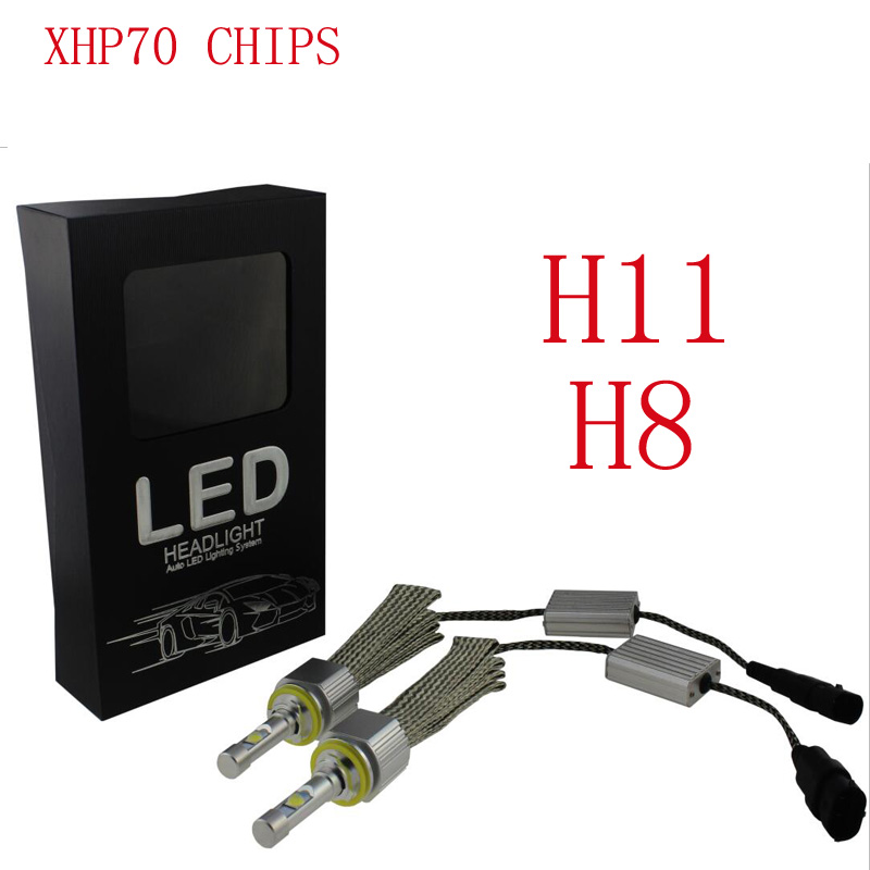 TOYIKIE 1set H11 H8  110W 13200Lm CREE CHIPS  XHP-70 LED Headlight H4  H8/H9/H11 9005 9006 9012 Car LED Headlight Fog Lamp kit pair 6000k super white auto 9600lm 80w white xhp cree chips led headlight car headlamp h4 h8 h9 h11 h13 9005 9006 no fan