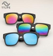 TTLIFE Men Polarized Sunglasses For Women Vintage Anti-Uv Driving Driver Black Reflective Eyewear Rectangle Shades YJHH0180
