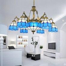 Синяя Тиффани 6 легкая старинная бронзовая люстра богемное муранское освещение приспособление для столовой кухни гостиной, лобби