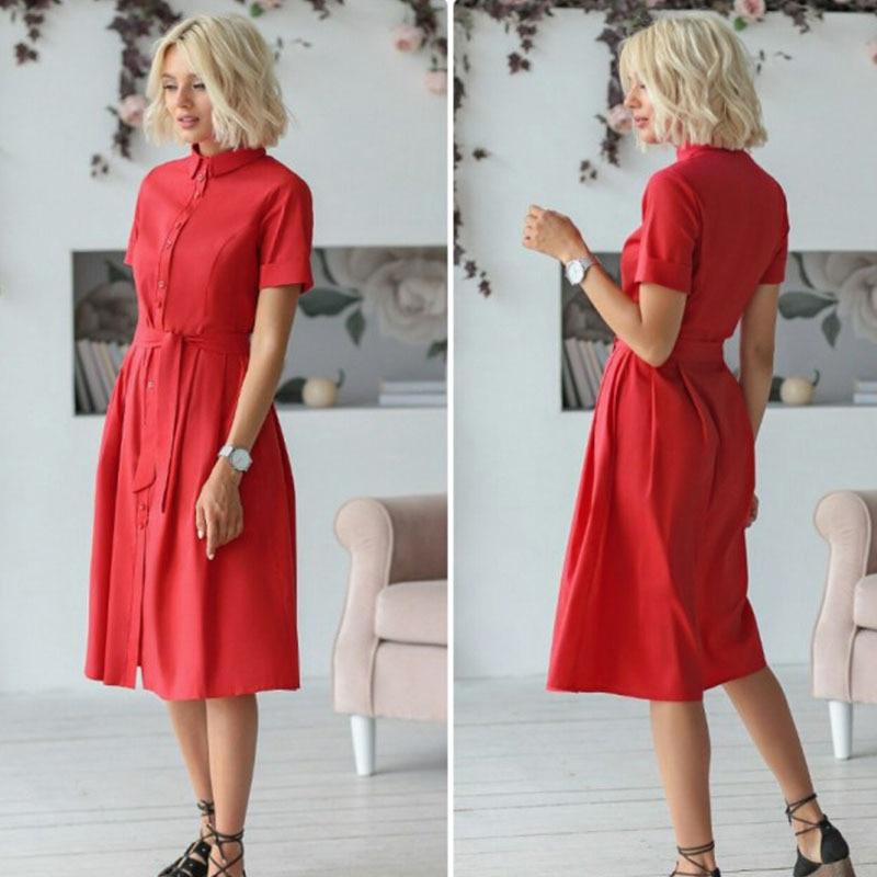 Red Elegant Summer Dress Women Casual Button A Line Collar Shirt Dresses Ladies Tunic Belt Pink Casual Dress Women Summer 2019 in Dresses from Women 39 s Clothing