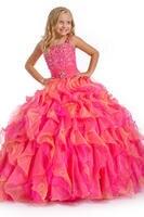 Two-tone màu hồng/orange dây đeo hạt flower girl dresses công chúa cuộc thi/đảng dress custom thực hiện kích thước 2-14 b427016