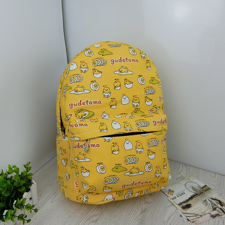 Kajie Gudetama Egg Cute Canvas Cartoon Backpack Children For Teenage Girl Boy School Bags Free Shipping Sac A Dos Femme Mochila