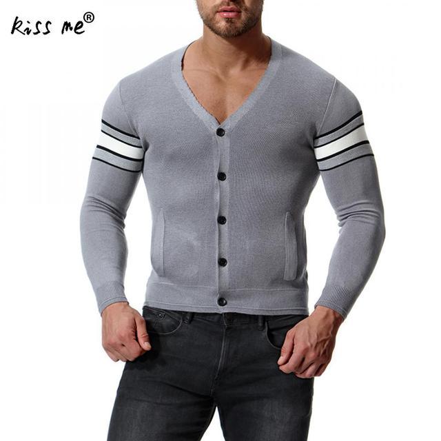 ff67734717 Grey Strip Sweater V-Neck Knit Cardigan Jacket Men S Knit Cardigan Fashion  Homme Sweaters Men Knitwear Long Mens Cardigan