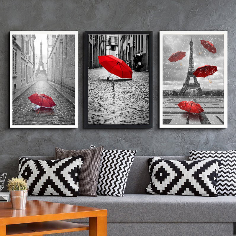 buy 3 piece canvas art black and white eiffel tower with red umbrella painting. Black Bedroom Furniture Sets. Home Design Ideas